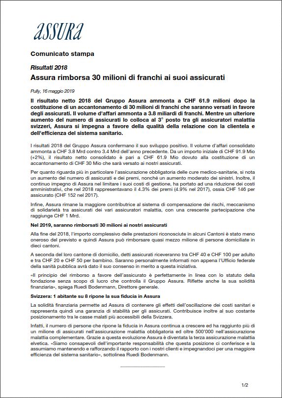 Thumbnail of Risultati 2018 - Assura rimborsa 30 milioni di franchi ai suoi assicurati