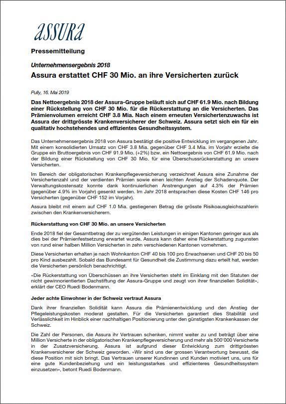 Thumbnail of Unternehmensergebnis 2018 - Assura erstattet CHF 30 Mio. an ihre Versicherten zurück