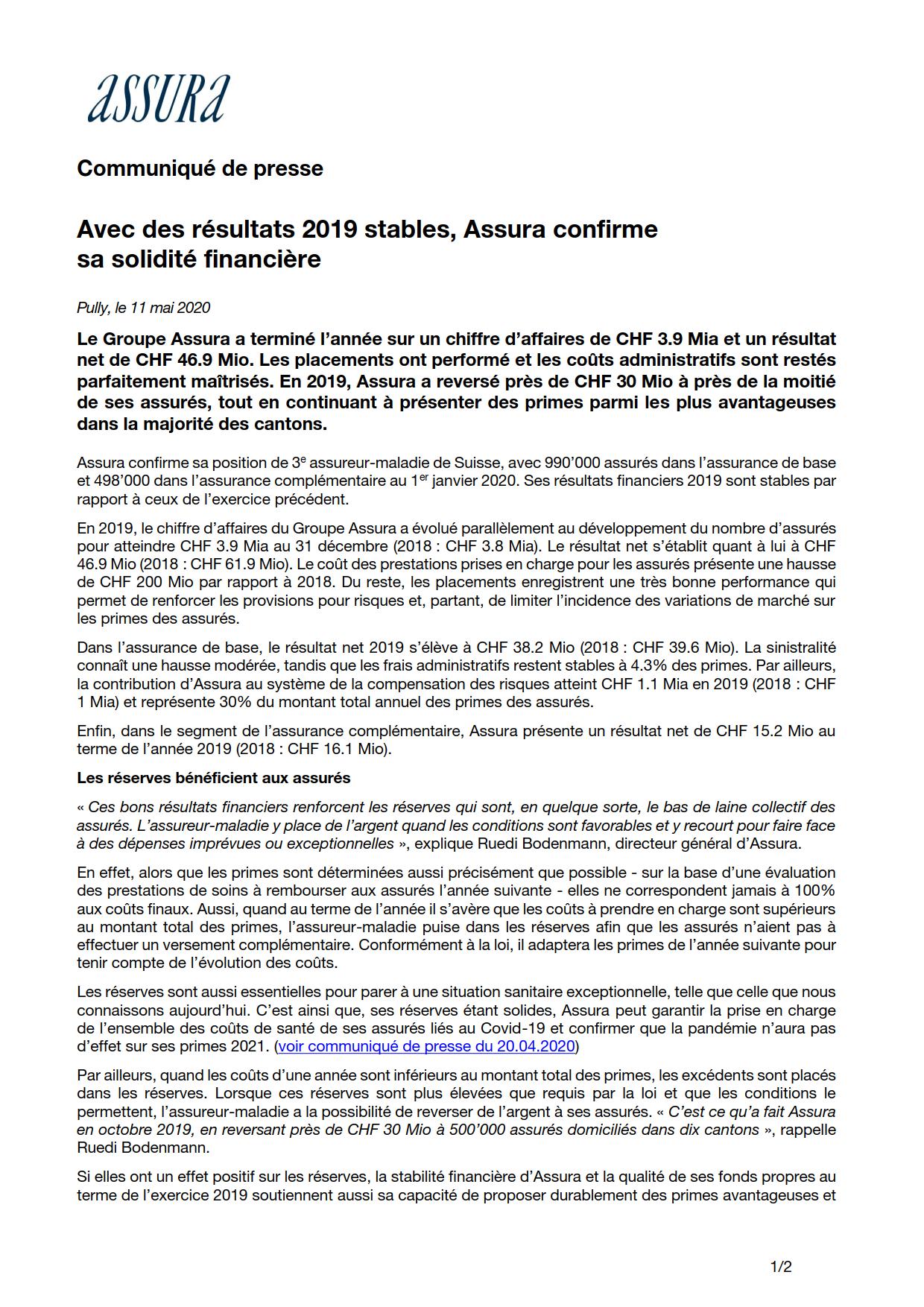 Thumbnail of Avec des résultats 2019 stables, Assura confirme sa solidité financière