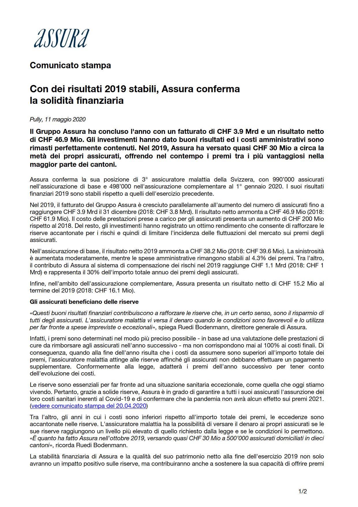 Thumbnail of Con dei risultati 2019 stabili, Assura conferma la solidità finanziaria
