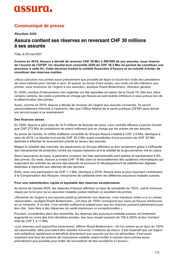Thumbnail of Assura contient ses réserves en reversant CHF 30 millions à ses assurés