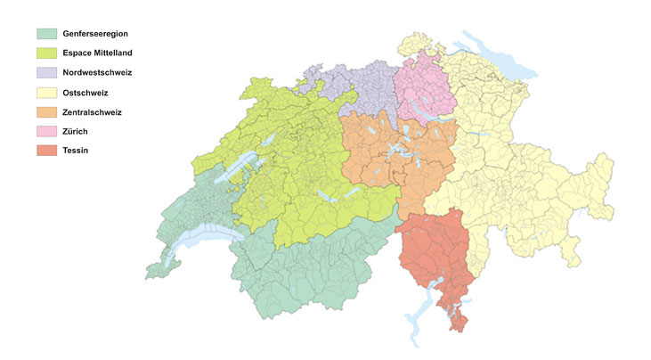 Karte der Grossregionen der Schweiz