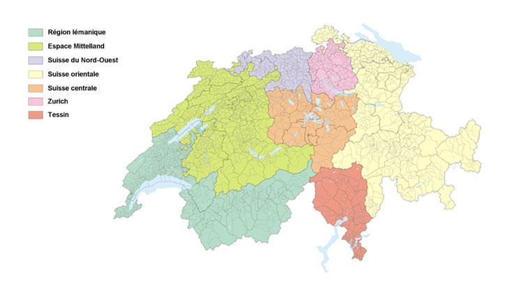 Carte des grandes régions de la Suisse