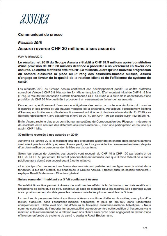 Thumbnail of Résultats 2018 - Assura reverse CHF 30 millions à ses assurés