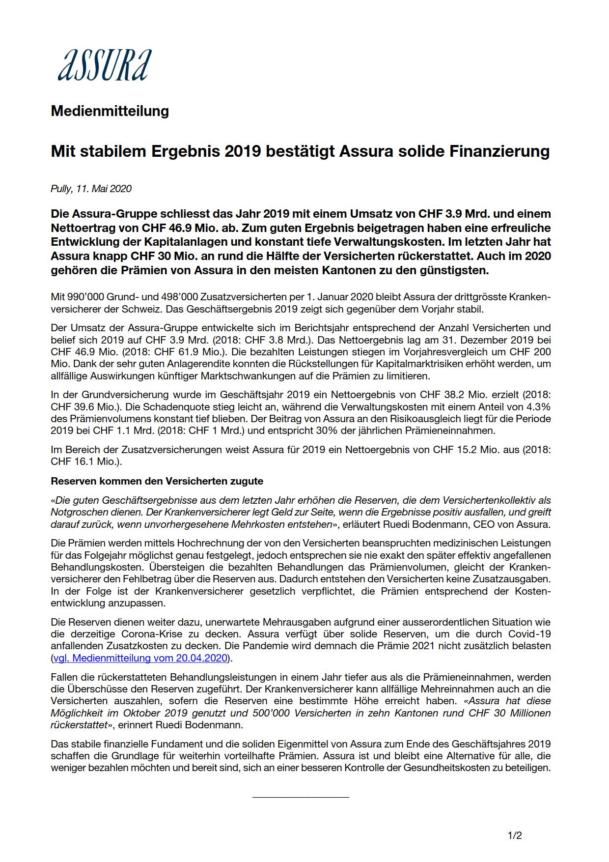 Thumbnail of Mit stabilem Ergebnis 2019 bestätigt Assura solide Finanzierung