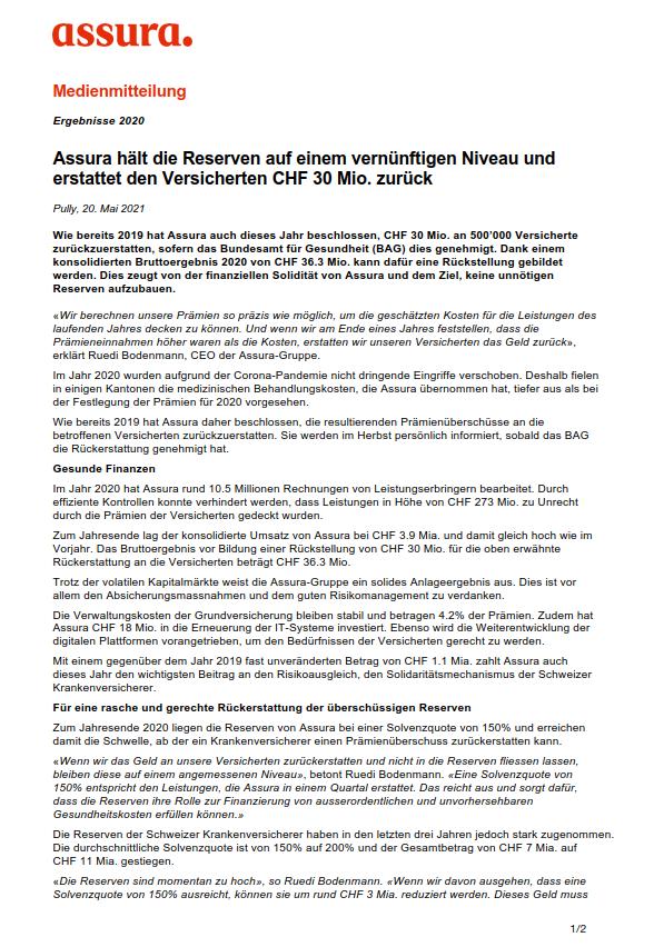 Thumbnail of Assura hält die Reserven auf einem vernünftigen Niveau und erstattet den Versicherten CHF 30 Mio. zurück