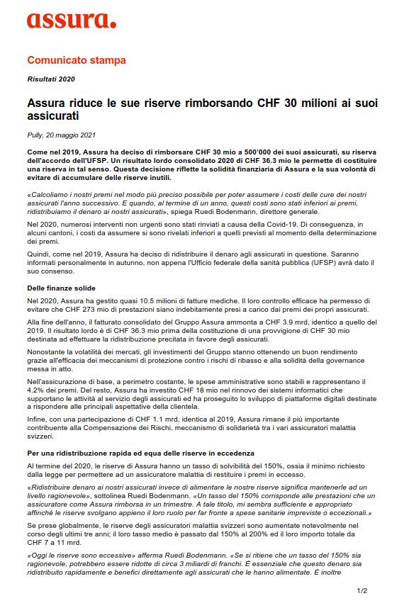 Thumbnail of Assura riduce le sue riserve rimborsando CHF 30 milioni ai suoi assicurati